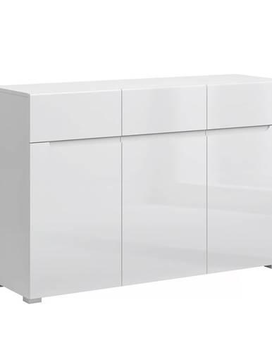 Jolk 3D3S trojdverová komoda so zásuvkami biela