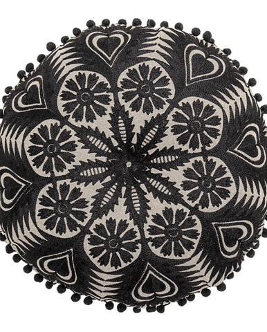 Čierno-béžový dekoratívny vankúš Bloomingville Mandala, ø 36 cm