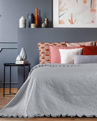 Sivý pléd cez posteľ AmeliaHome Tilia, 220x240cm