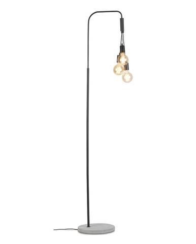 Čierna stojacia lampa s betónovým podstavcom Citylights Oslo
