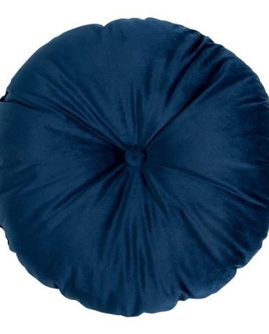 Modrý vankúš so zamatovým poťahom HoNordic Luso, ø 45 cm