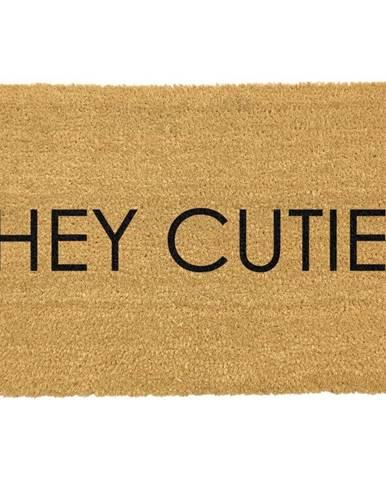 Čierna rohožka z prírodného kokosového vlákna Artsy Doormats Hey Cutie, 40 x 60 cm