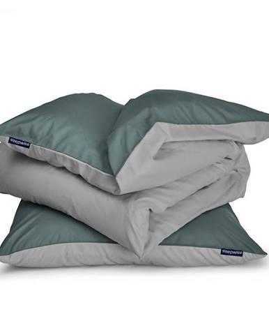 Sleepwise Soft Wonder-Edition, posteľná bielizeň, 135x200cm, zeleno sivá/svetlo sivá