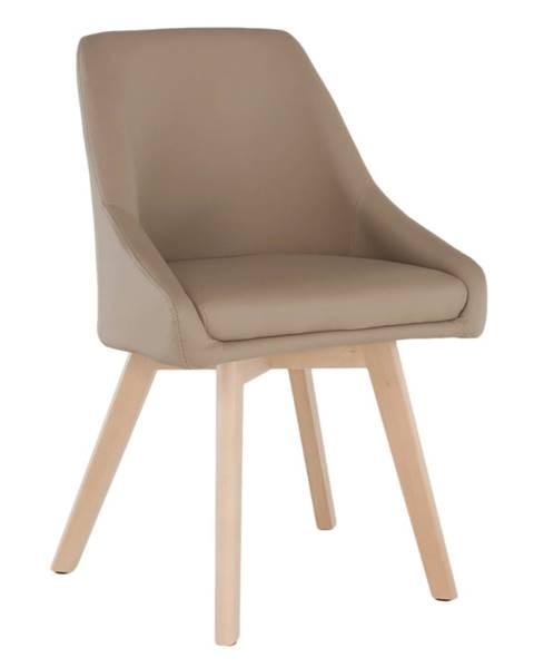Kondela Jedálenská stolička béžová ekokoža/buk TEZA