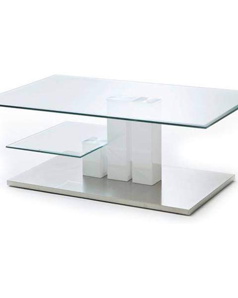 Sconto Konferenčný stolík GAVIN biela/sklo
