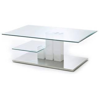 Konferenčný stolík GAVIN biela/sklo