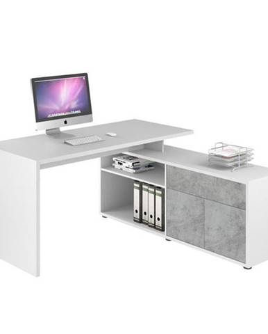Rohový písací stôl ARLO biela/sivá