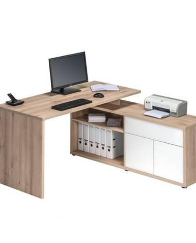 Rohový písací stôl ARLO buk/biela
