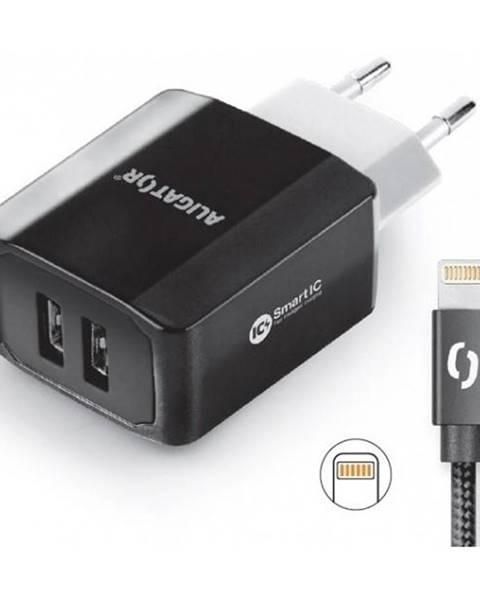Aligator Nabíjačka do siete Aligator 2xUSB, smart IC, 3,4A + Lightning kabel