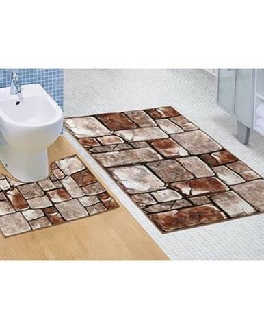Bellatex Sada kúpeľnových predložiek Kamenná dlažba 3D, 60 x 100 cm, 60 x 50 cm