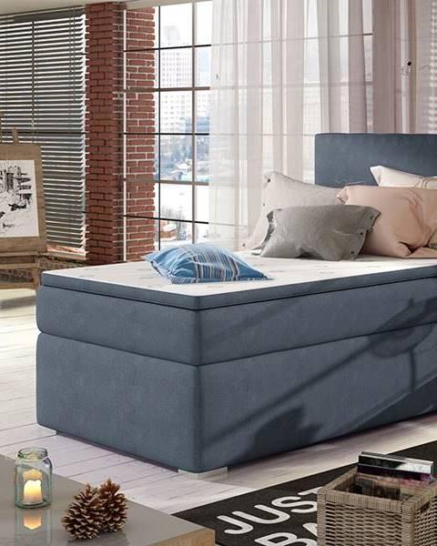 NABBI Rodrigo 90 L čalúnená jednolôžková posteľ s úložným priestorom modrá