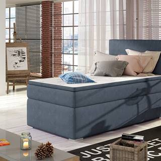 Rodrigo 90 L čalúnená jednolôžková posteľ s úložným priestorom modrá