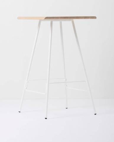 Barový stolík s doskou z masívneho dubového dreva a bielymi nohami Gazzda Leina