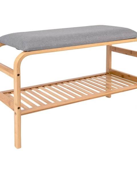 Leitmotiv Bambusová lavica so sivým polstrovaním Leitmotiv Dure