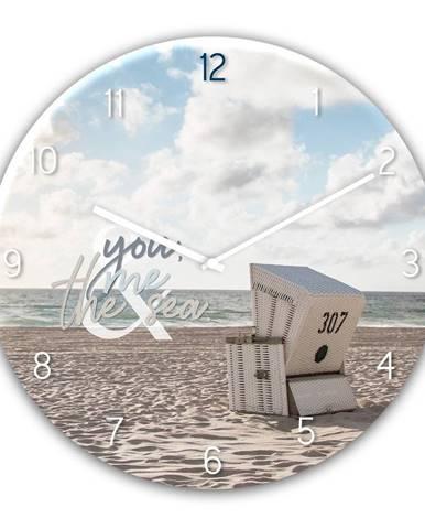 Sklenené nástenné hodiny Styler The Se, ø 30 cm