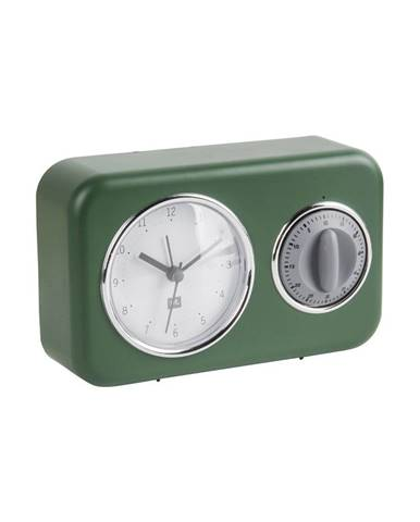 Zelené stolové hodiny s kuchynskou minútkou PT LIVING Nostalgia
