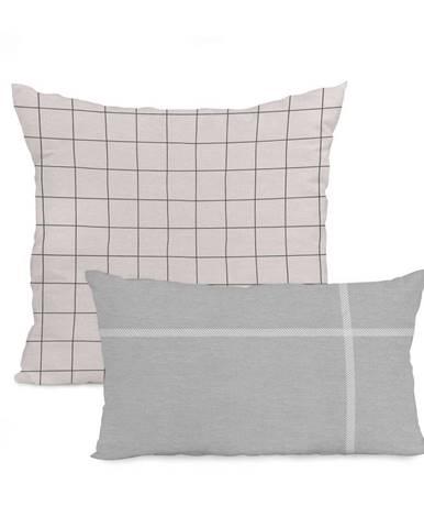 Súprava 2 bavlnených obliečok na vankúš Blanc Tartan