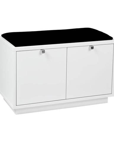 Biela lavica s úložným priestorom a s čiernym sedadlom Rowico Confetti, šírka 70 cm