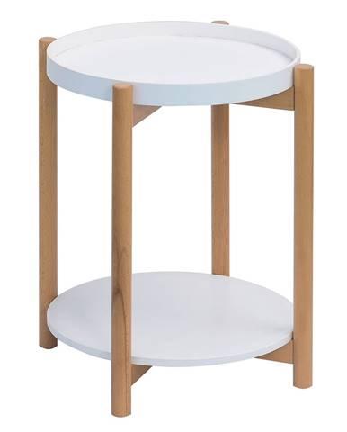 Príručný stolík biela/prírodná KABRA