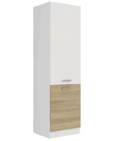 Vysoká kuchynská skriňa Latte 60DK-210, dub latte / biely lesk, šírka 60 cm%