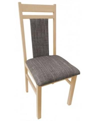 Jedálenská stolička Michaela, buk / hnedo-béžová tkanina%