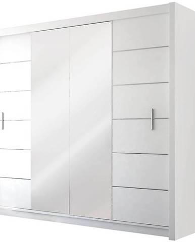 Skriňa Lizbona 2 203 cm biely/zrkdlo