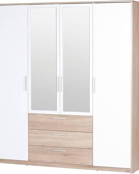 MERKURY MARKET Skriňa 4D3S Milo 02 Dub Sonoma 3D/biely