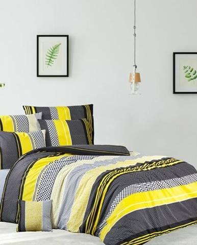 BedTex Bavlnené obliečky Zigo žltá, 220 x 200 cm, 2 ks 70 x 90 cm