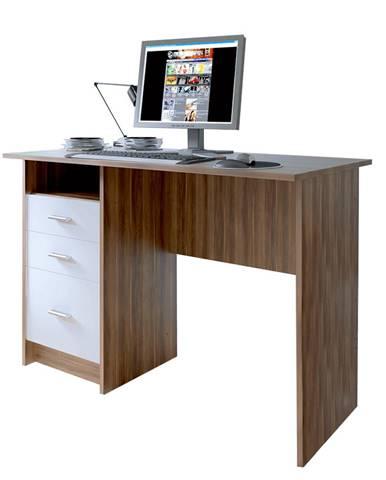 PC stôl dub slivka/biela SAMSON NEW