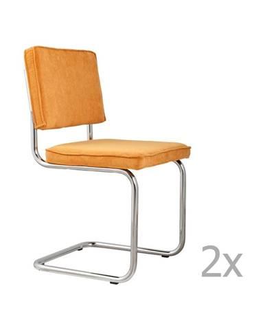 Súprava 2 žltých stoličiek Zuiver Ridge Rib
