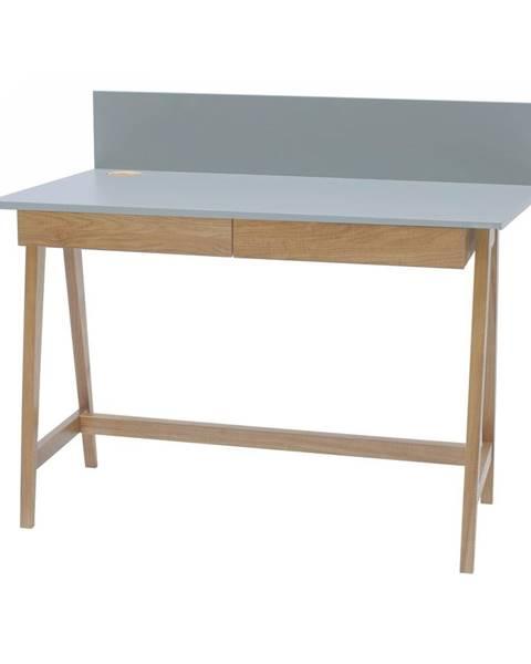 Ragaba Sivý písací stôl s podnožím z jaseňového dreva Ragaba Luka, dĺžka 110 cm