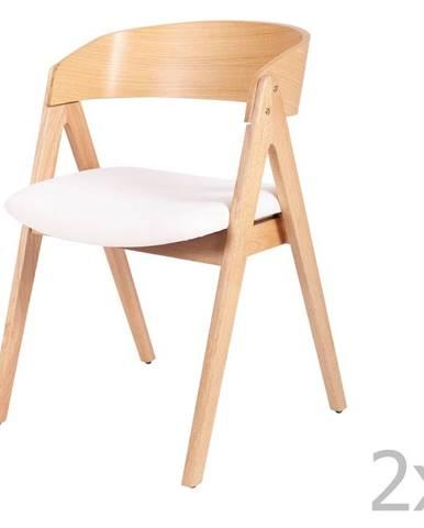 Súprava 2 jedálenských stoličiek z kaučukovníkového dreva s bielym sedákom sømcasa Rina