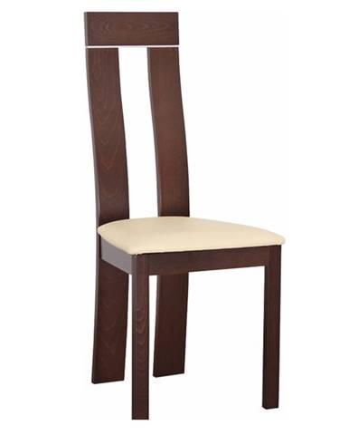 Drevená stolička orech/ekokoža béžová DESI