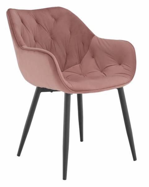 Tempo Kondela Dizajnové kreslo ružová Velvet látka FEDRIS