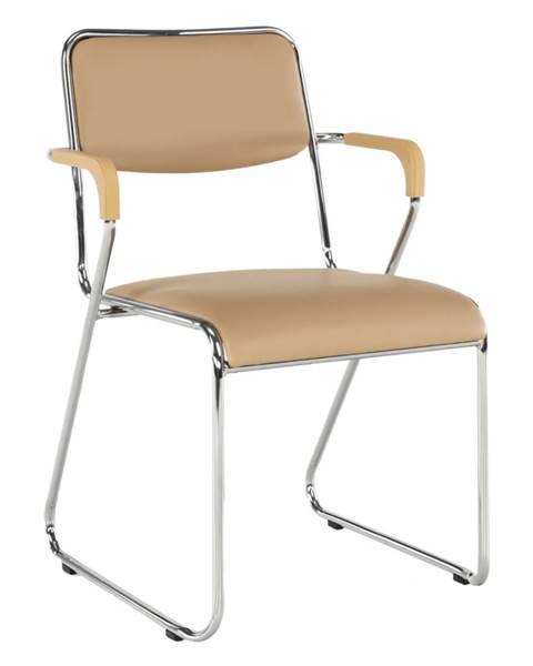 Kondela Zasadacia stolička hnedá ekokoža DERYA rozbalený tovar