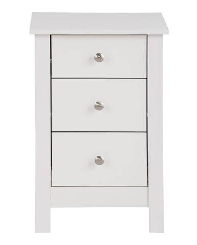 Biely nočný stolík s 3 zásuvkami Støraa Aldo
