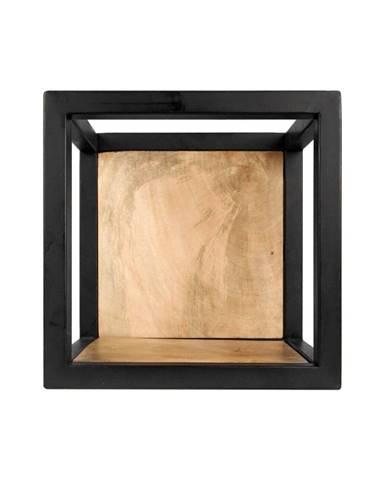 Nástenná polica s detailom z mangového dreva HSM collection Caria, 25×25 cm