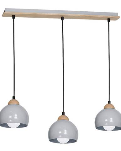 Sivé závesné svietidlo s drevenými detailmi Dama Tres