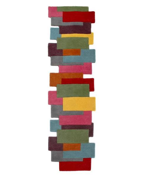 Flair Rugs Farebný vlnený behúň Flair Rugs Abstract Collage, 60 x 230 cm