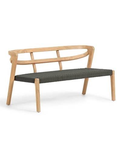 Záhradná lavica z eukalyptového dreva s tmavozeleným výpletom La Forma Ezilda