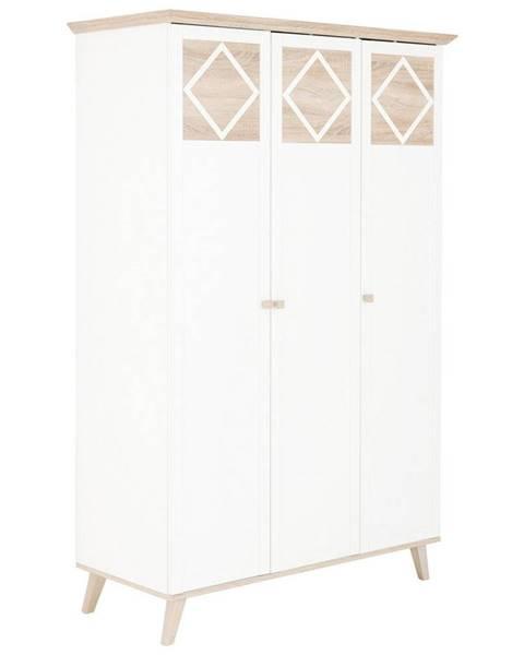 Carryhome Carryhome SKRIŇA S OTOČNÝMI DVERAMI, biela, farby dubu, 133/204/59 cm - biela, farby dubu