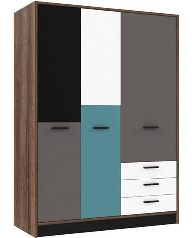 Carryhome ŠATNÍKOVÁ SKRIŇA, sivá, zelená, čierna, biela, farby dubu, 143,8/200/60 cm - sivá, zelená, čierna, biela, farby dubu