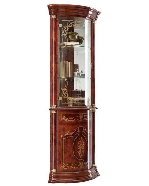 Cantus Cantus ROHOVÁ VITRÍNA, farby orecha, zlatá, 56/205/56 cm - farby orecha, zlatá