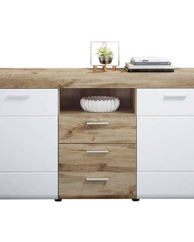 Xora KOMODA SIDEBOARD, biela, farby dubu, 160/87/44 cm - biela, farby dubu