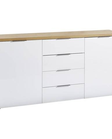 Xora ŠIROKÁ KOMODA, biela, farby dubu, 180/89/43 cm - biela, farby dubu