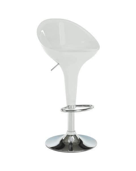 Tempo Kondela Barová stolička biela/chróm ALBA NOVA