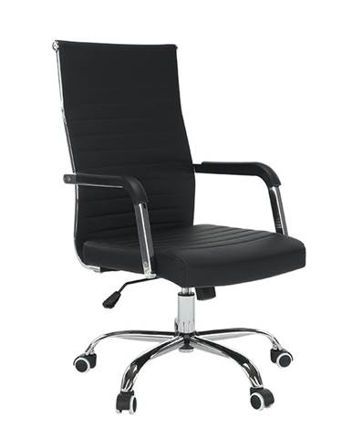 Kancelárske kreslo ekokoža/kov čierna/chróm FARAN