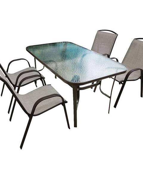 MERKURY MARKET Sada sklenený stôl + 4 stoličky béžová