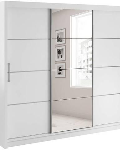 Skriňa Verona 220 biely/lzrkadlo