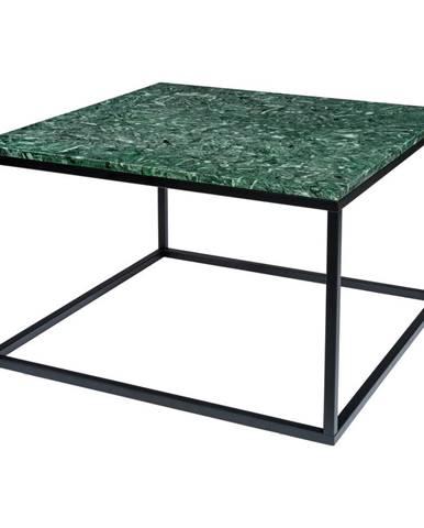 Tmavozelený mramorový konferenčný stolík s čiernou podnožou RGE Accent, šírka 75 cm